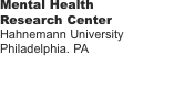 Mental Health Research Center  Hahnemann University Philadelphi